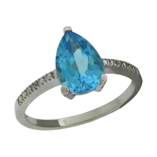 Pear shaped blue topaz ring. Holliday Jewelry Klamath Falls, OR