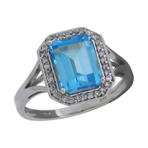Emerald cut blue topaz ring. Holliday Jewelry Klamath Falls, OR