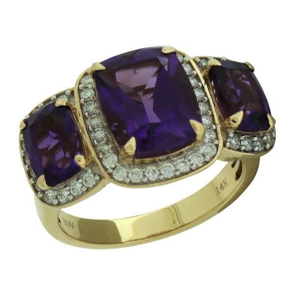 Three halo amethyst and diamond ring. Holliday Jewelry Klamath Falls, OR