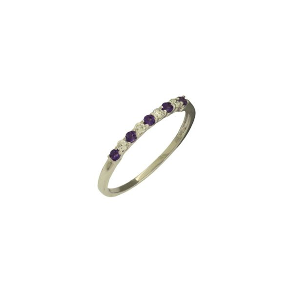 Straight line alternating amethyst and diamond band. Holliday Jewelry Klamath Falls, OR