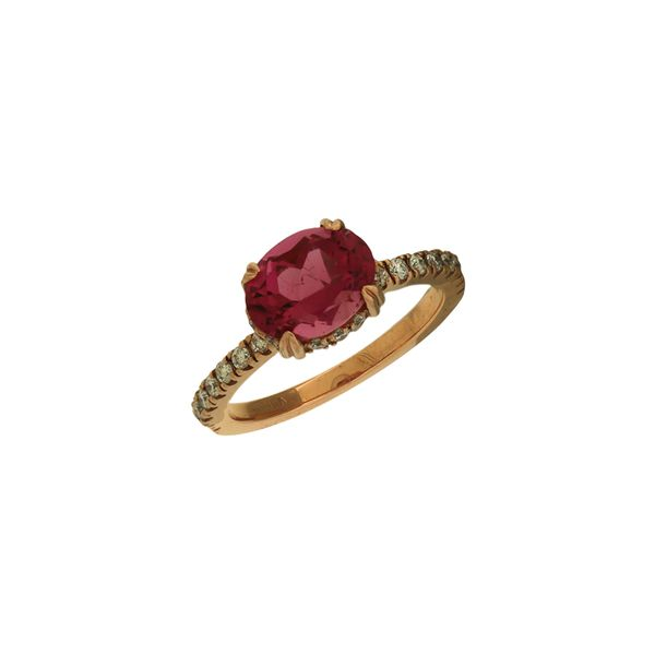 Oval pink tourmaline and diamond ring in rose gold. Holliday Jewelry Klamath Falls, OR