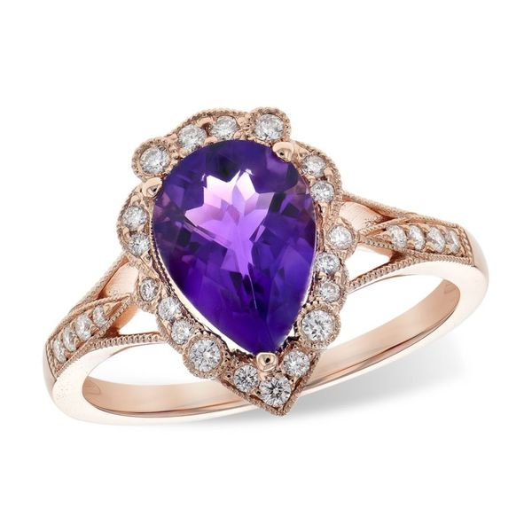 Antique inspired amethyst and diamond ring. Holliday Jewelry Klamath Falls, OR