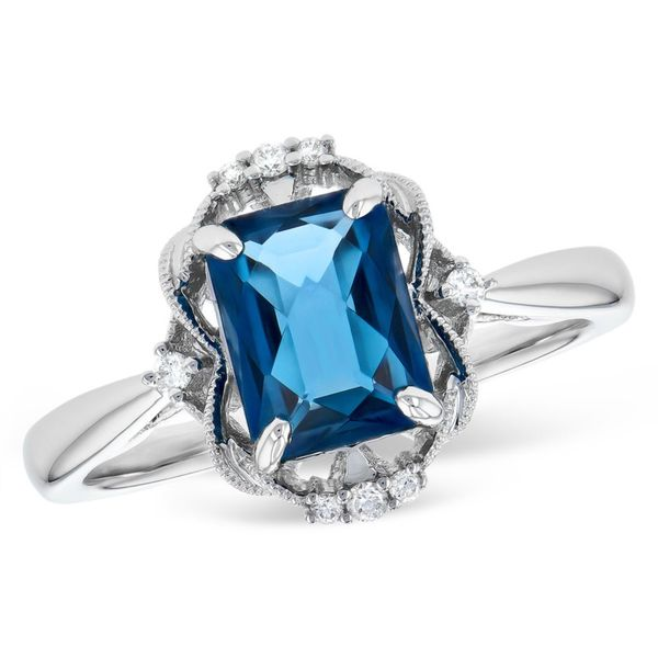 Vintage inspired blue topaz ring. Holliday Jewelry Klamath Falls, OR