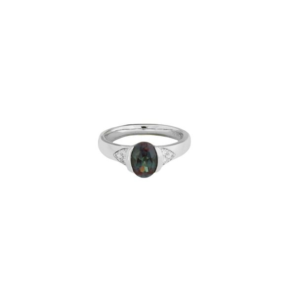 Laboratory grown alexandrite and mined diamond ring. Holliday Jewelry Klamath Falls, OR