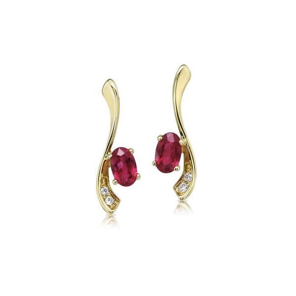Gorgeous ruby and diamond earrings featured in 14 karat yello gold. Holliday Jewelry Klamath Falls, OR