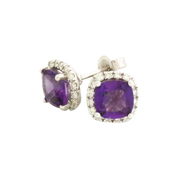 Amethyst and diamond halo-style earrings Holliday Jewelry Klamath Falls, OR