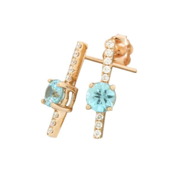 Blue zircon and diamond earrings featured in 14 karat rose gold Holliday Jewelry Klamath Falls, OR