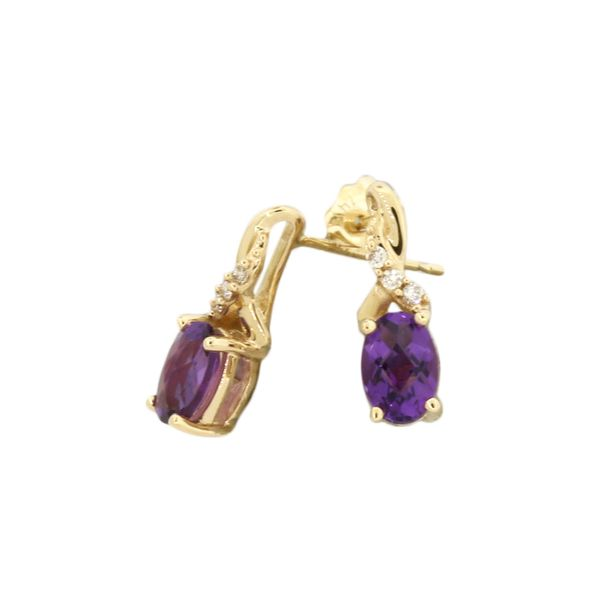 Stunning amethyst and diamond earrings featured in 14 karat yellow gold Holliday Jewelry Klamath Falls, OR