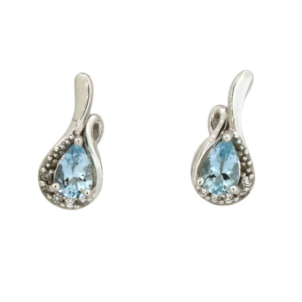 Aquamarine and diamond earrings featured in 14 karat white gold Holliday Jewelry Klamath Falls, OR