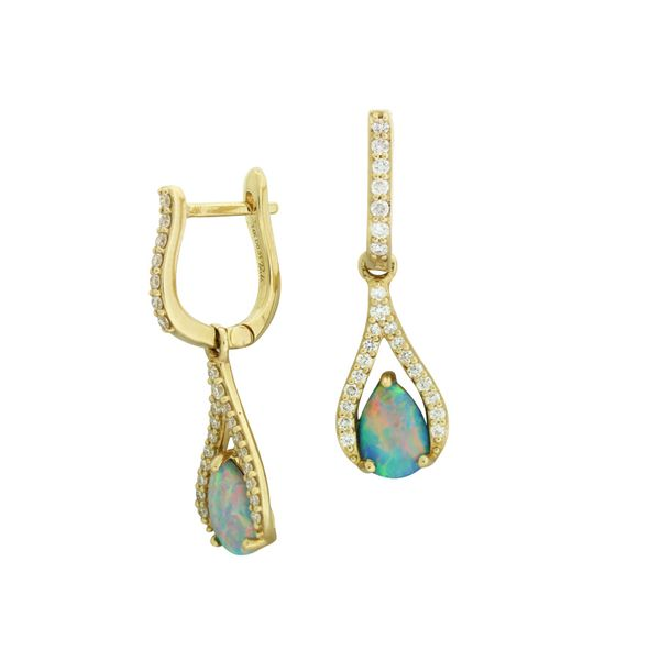 Gorgeous opal and diamond earrings featured in 14 karat yellow gold Holliday Jewelry Klamath Falls, OR