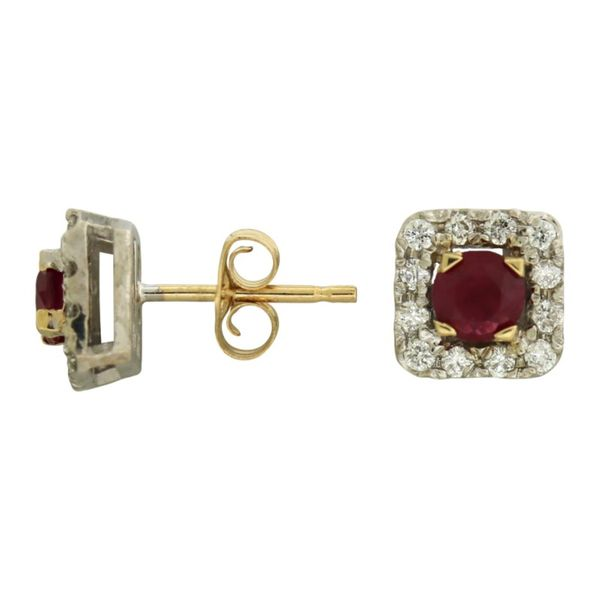 Ruby and diamond halo earrings. Holliday Jewelry Klamath Falls, OR