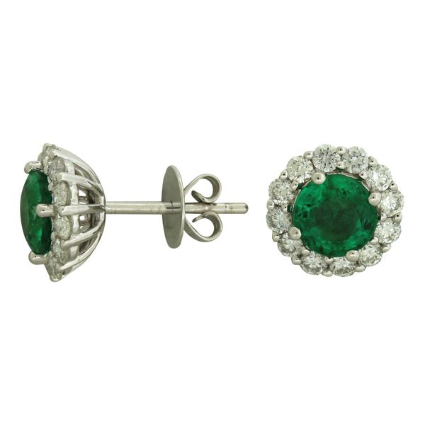 Halo design emerald earrings. Holliday Jewelry Klamath Falls, OR