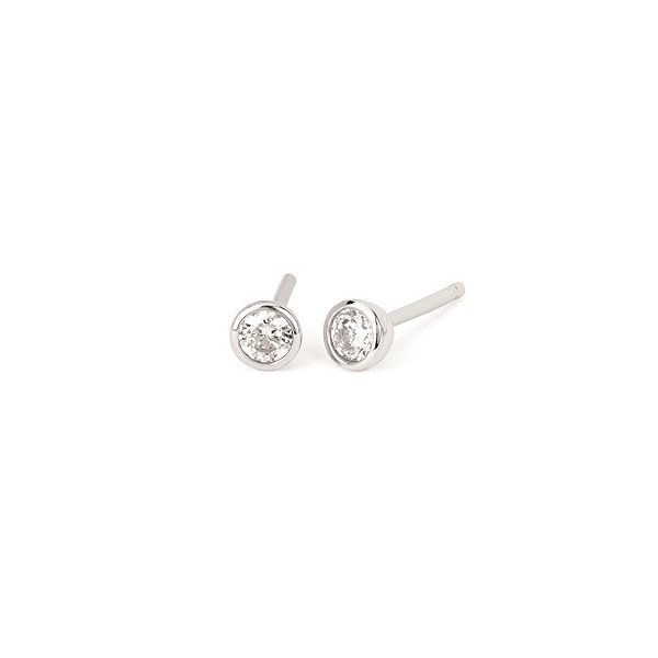 White sapphire solitaire earrings. Holliday Jewelry Klamath Falls, OR