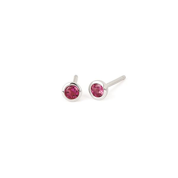 Genuine pink tourmaline solitaire earrings. Holliday Jewelry Klamath Falls, OR