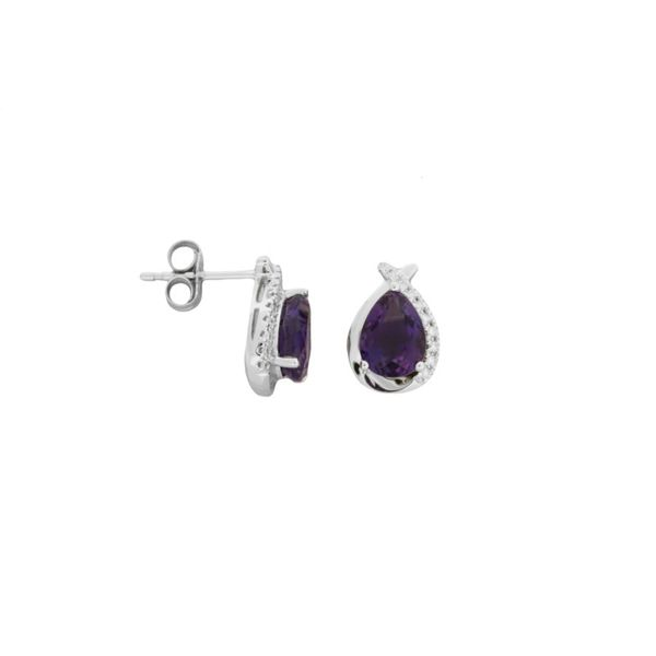Pear shaped amethyst and diamond earrings. Holliday Jewelry Klamath Falls, OR