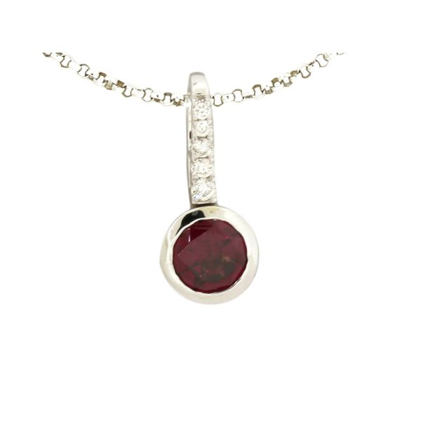 Garnet and diamond pendant featured in 14 karat white gold Holliday Jewelry Klamath Falls, OR