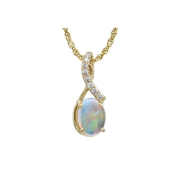 Australian opal and diamond pendant featured in 14 karat yellow gold Holliday Jewelry Klamath Falls, OR