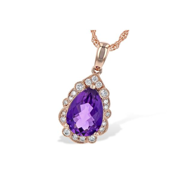 Allison Kaufman 14 karat rose gold pendant with diamonds and  pear shaped amethyst Holliday Jewelry Klamath Falls, OR