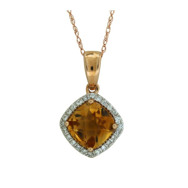 Halo design citrine pendant. Holliday Jewelry Klamath Falls, OR