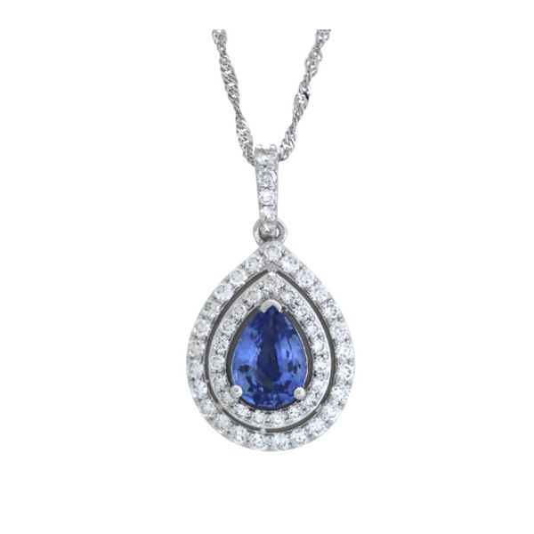 Double halo sapphire pendant. Holliday Jewelry Klamath Falls, OR