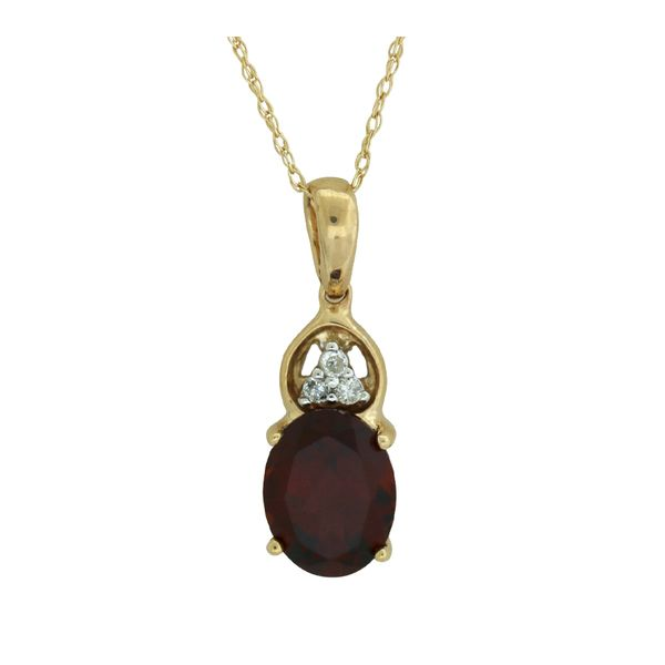 Traditional garnet and diamond pendant. Holliday Jewelry Klamath Falls, OR