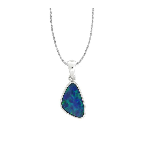 Gorgeous Australian opal pendant featured in 14 karat white gold Holliday Jewelry Klamath Falls, OR