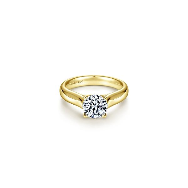 Classic yellow gold solitaire engagement ring by Gabriel & Co. *Center not included. Holliday Jewelry Klamath Falls, OR