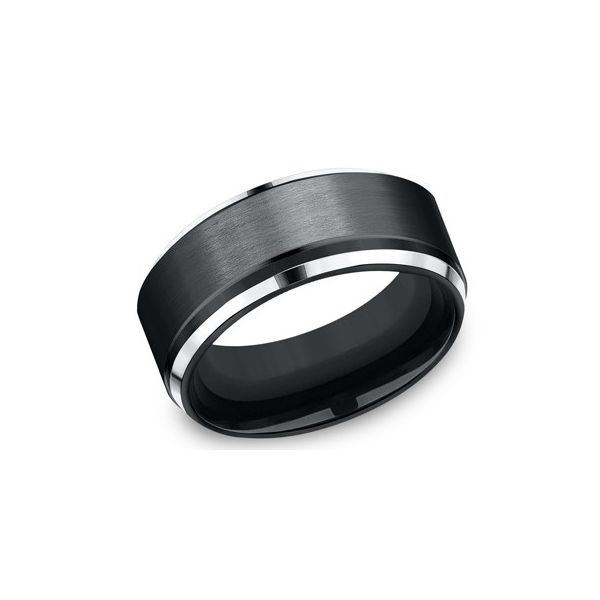 Black cobalt comfort fit band. Holliday Jewelry Klamath Falls, OR
