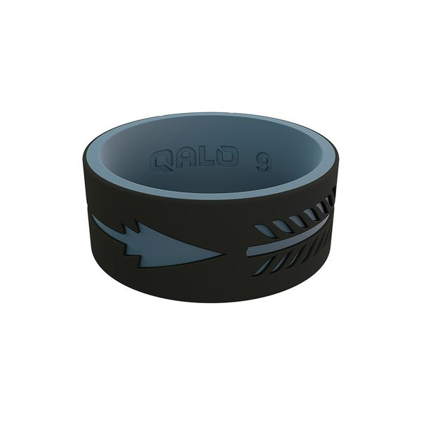 Qalo standard black and denim arrow strata silicone ring. Holliday Jewelry Klamath Falls, OR