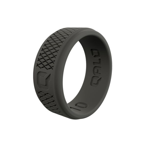 Qalo dark grey crosshatch silicone ring. Holliday Jewelry Klamath Falls, OR