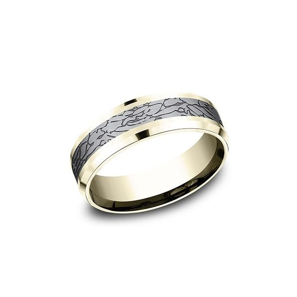 Amara stone yellow gold and tantalum fractured rock ring. Holliday Jewelry Klamath Falls, OR