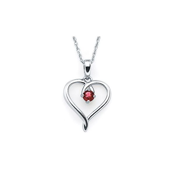 Sterling silver January heart pendant. Holliday Jewelry Klamath Falls, OR