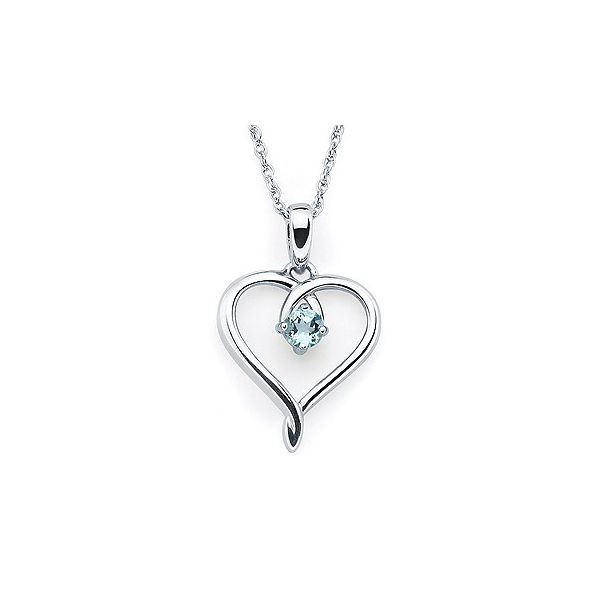 Simulated Aquamarine Heart Pendant Holliday Jewelry Klamath Falls, OR