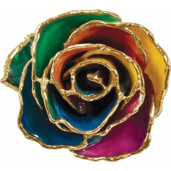 Rainbow lacquered rose. Holliday Jewelry Klamath Falls, OR