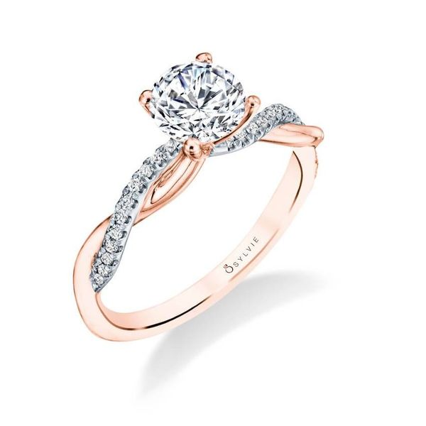 Sylvie White And Rose Gold Spiral Solitaire Engagement Ring Holtan S Jewelry Winona Mn