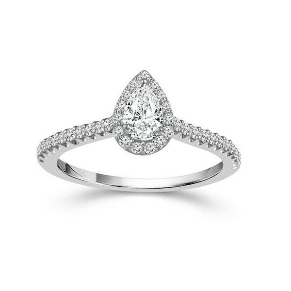 Pear Shaped Halo Engagement Ring Image 2 Holtan's Jewelry Winona, MN