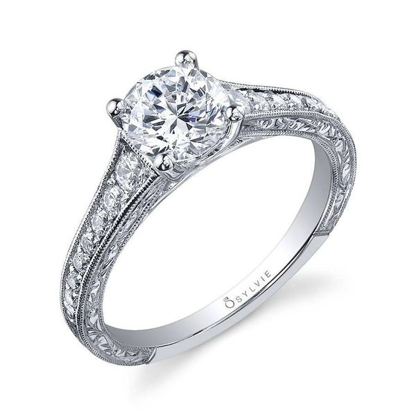 DESIRAE - ROUND HAND ENGRAVED ENGAGEMENT RING *SETTING ONLY* Holtan's Jewelry Winona, MN