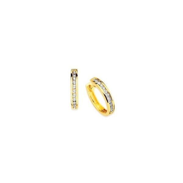 Yellow Gold Channel Set Diamond Hoops Holtan's Jewelry Winona, MN
