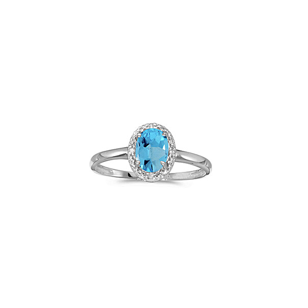 Blue Topaz and Diamond Halo Ring Holtan's Jewelry Winona, MN