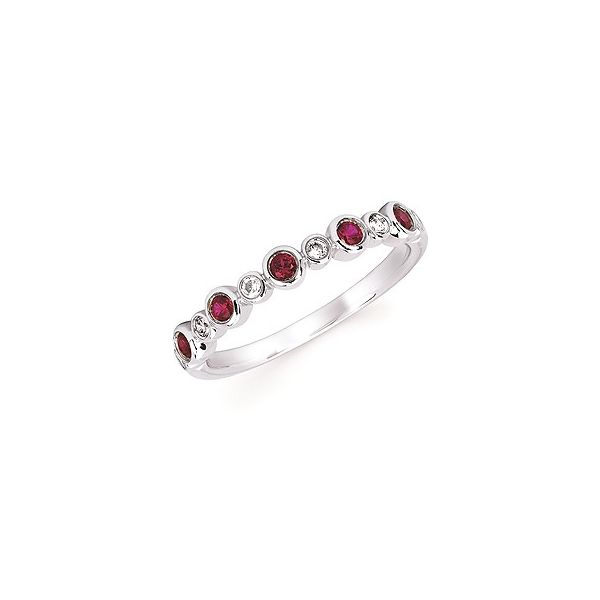 Diamond and Created Ruby Stackable Birthstone Ring Holtan's Jewelry Winona, MN