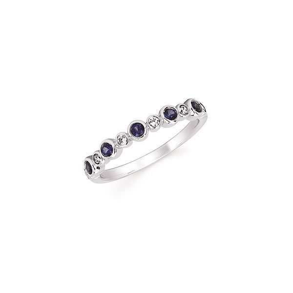 Diamond and Created Sapphire Stackable Birthstone Ring Holtan's Jewelry Winona, MN