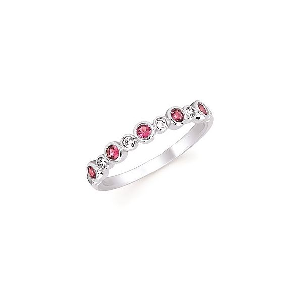 Diamond and Pink Tourmaline Stackable Birthstone Ring Holtan's Jewelry Winona, MN