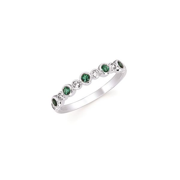 Diamond and Emerald Stackable Birthstone Ring Holtan's Jewelry Winona, MN
