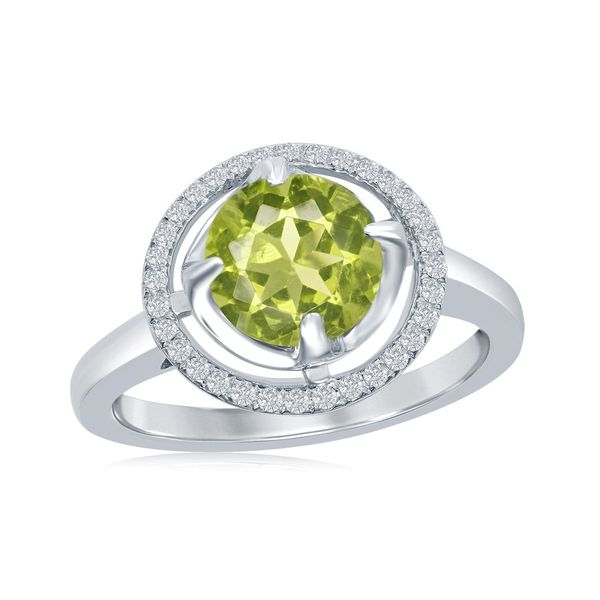 Peridot Fashion Ring with White Topaz Halo Holtan's Jewelry Winona, MN