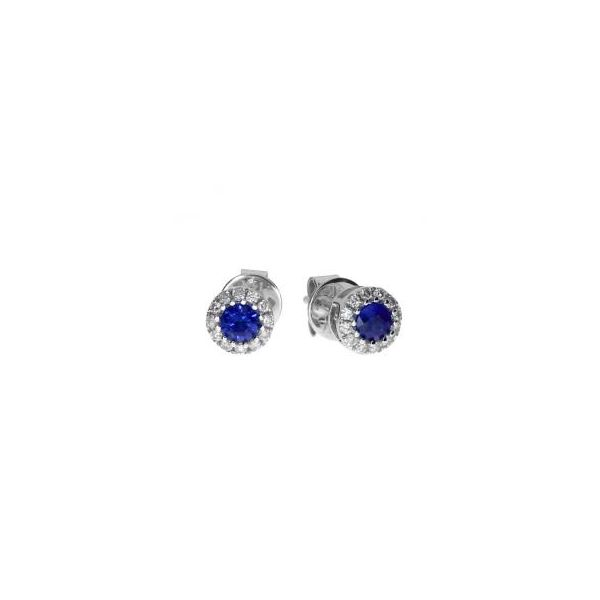 White Gold Sapphire and Diamond Earrings Holtan's Jewelry Winona, MN