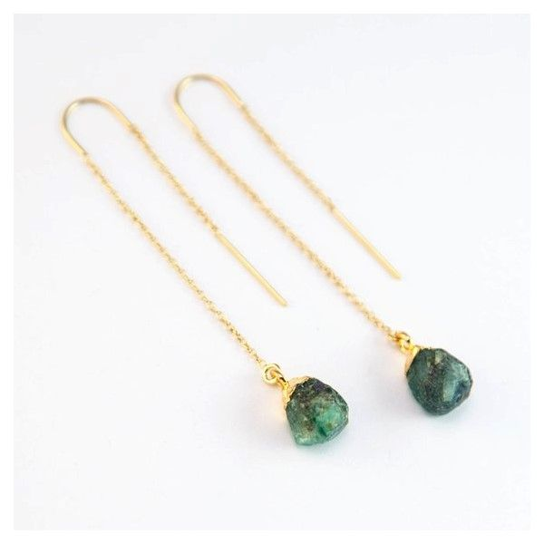Raw Cut Emerald Threader Earrings Holtan's Jewelry Winona, MN