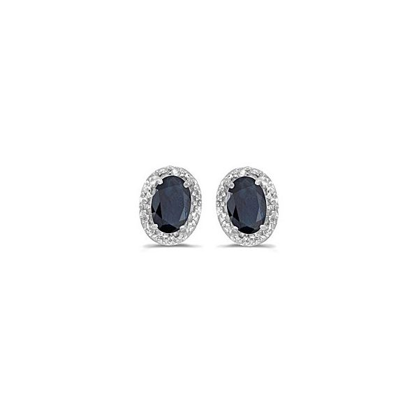 Oval Blue Sapphire Earrings with Diamond Halo Holtan's Jewelry Winona, MN
