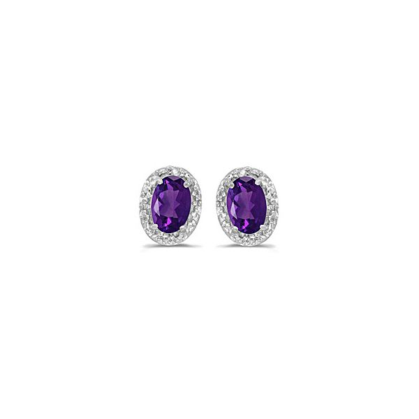 White Gold Amethyst and Diamond Earrings Holtan's Jewelry Winona, MN