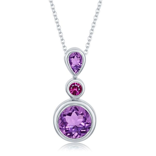 Bezel Set Amethyst Pendant with Rhodolite Garnet Accent  Holtan's Jewelry Winona, MN