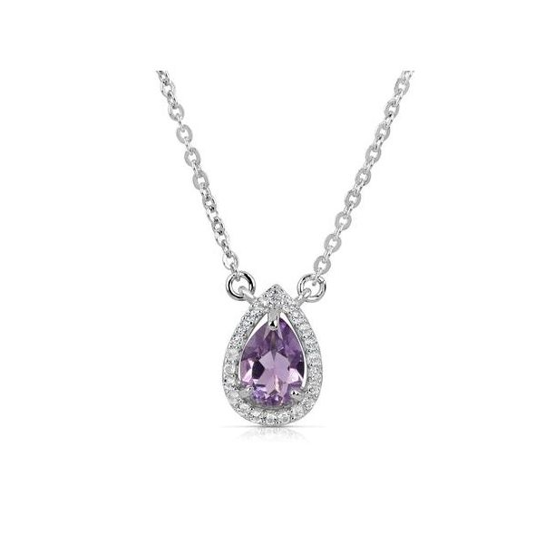 Pear Shaped Halo Amethyst Necklace Holtan's Jewelry Winona, MN